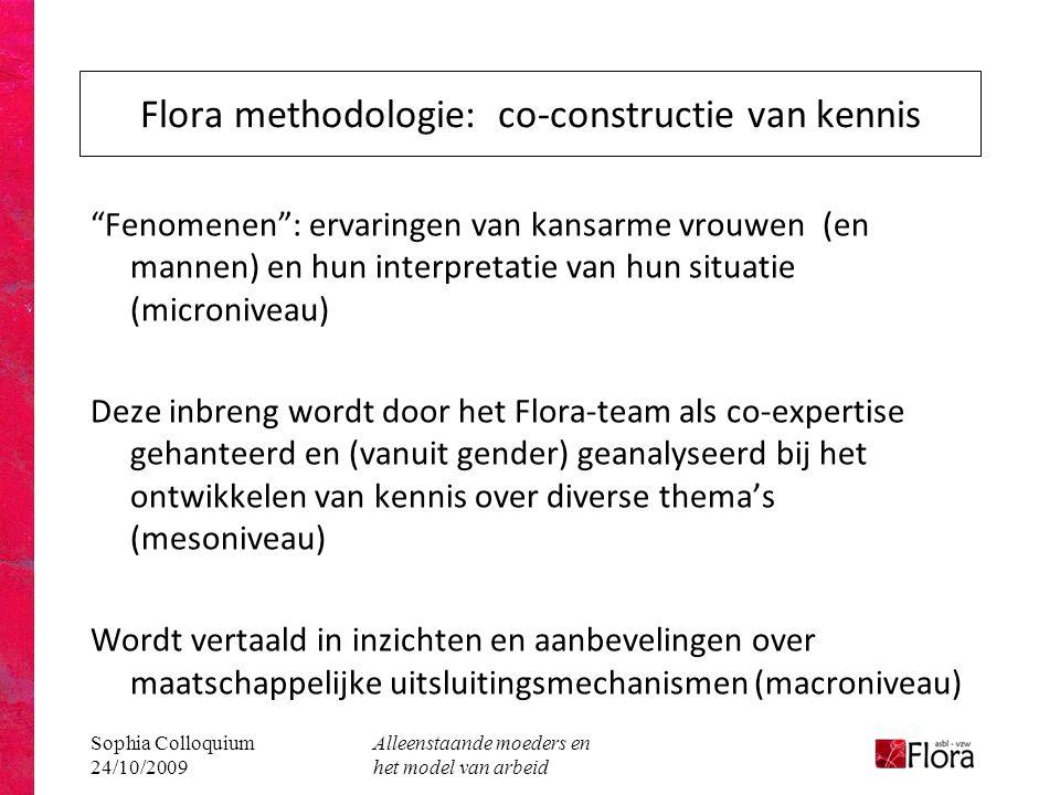 """Sophia Colloquium 24/10/2009 Alleenstaande moeders en het model van arbeid Flora methodologie: co-constructie van kennis """"Fenomenen"""": ervaringen van k"""
