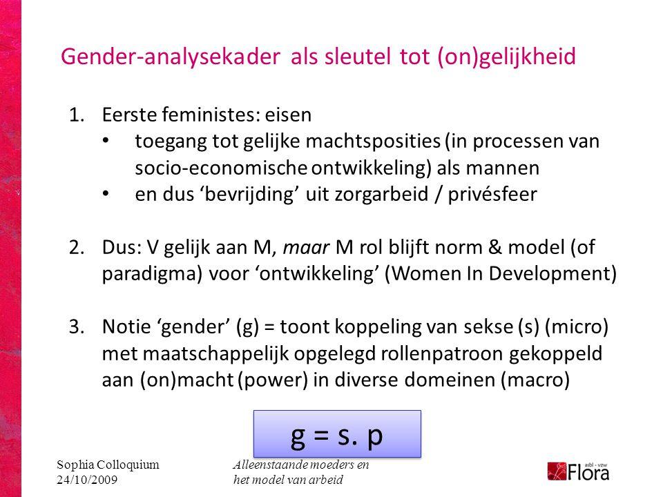 Sophia Colloquium 24/10/2009 Alleenstaande moeders en het model van arbeid Gender-analysekader als sleutel tot (on)gelijkheid 1.Eerste feministes: eisen • toegang tot gelijke machtsposities (in processen van socio-economische ontwikkeling) als mannen • en dus 'bevrijding' uit zorgarbeid / privésfeer 2.Dus: V gelijk aan M, maar M rol blijft norm & model (of paradigma) voor 'ontwikkeling' (Women In Development) 3.Notie 'gender' (g) = toont koppeling van sekse (s) (micro) met maatschappelijk opgelegd rollenpatroon gekoppeld aan (on)macht (power) in diverse domeinen (macro) g = s.