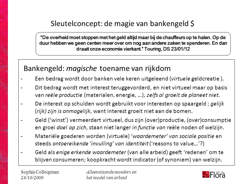 Sophia Colloquium 24/10/2009 Alleenstaande moeders en het model van arbeid Bankengeld: magische toename van rijkdom -Een bedrag wordt door banken vele