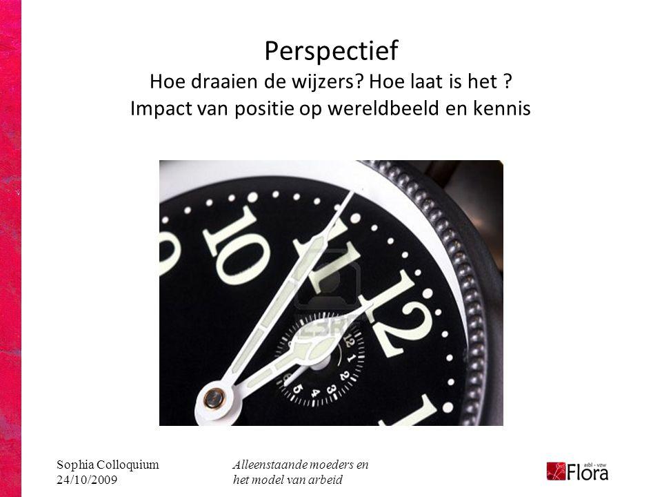 Sophia Colloquium 24/10/2009 Alleenstaande moeders en het model van arbeid Perspectief Hoe draaien de wijzers.