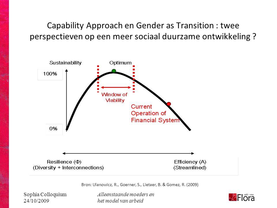 Sophia Colloquium 24/10/2009 Alleenstaande moeders en het model van arbeid Capability Approach en Gender as Transition : twee perspectieven op een meer sociaal duurzame ontwikkeling .