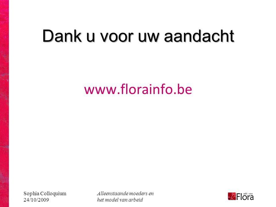 Sophia Colloquium 24/10/2009 Alleenstaande moeders en het model van arbeid Dank u voor uw aandacht www.florainfo.be