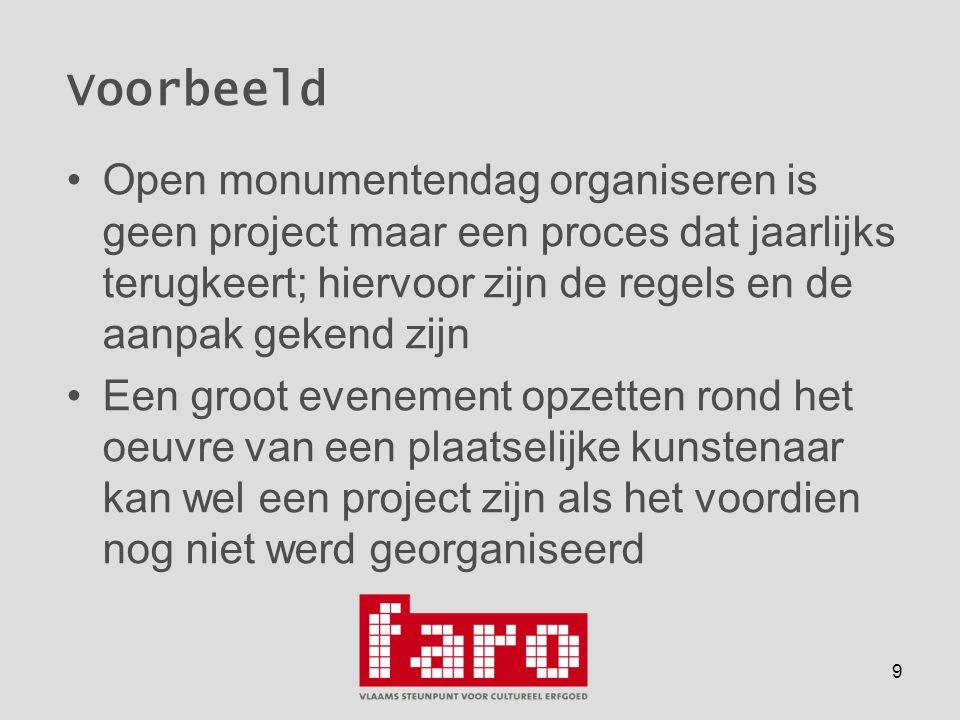 9 Voorbeeld •Open monumentendag organiseren is geen project maar een proces dat jaarlijks terugkeert; hiervoor zijn de regels en de aanpak gekend zijn •Een groot evenement opzetten rond het oeuvre van een plaatselijke kunstenaar kan wel een project zijn als het voordien nog niet werd georganiseerd