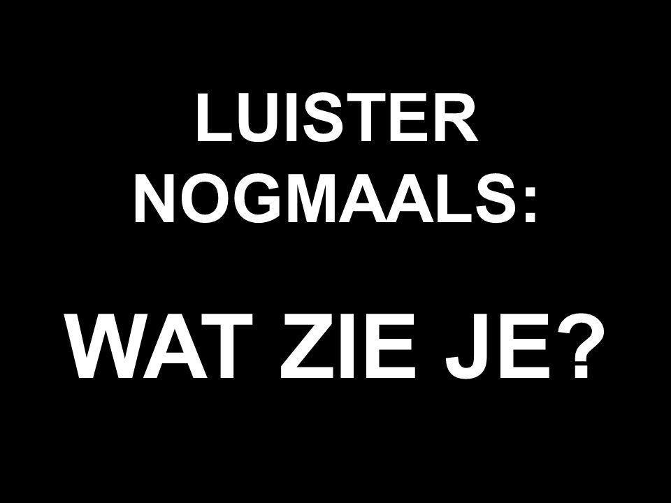 LUISTER NOGMAALS: WAT ZIE JE