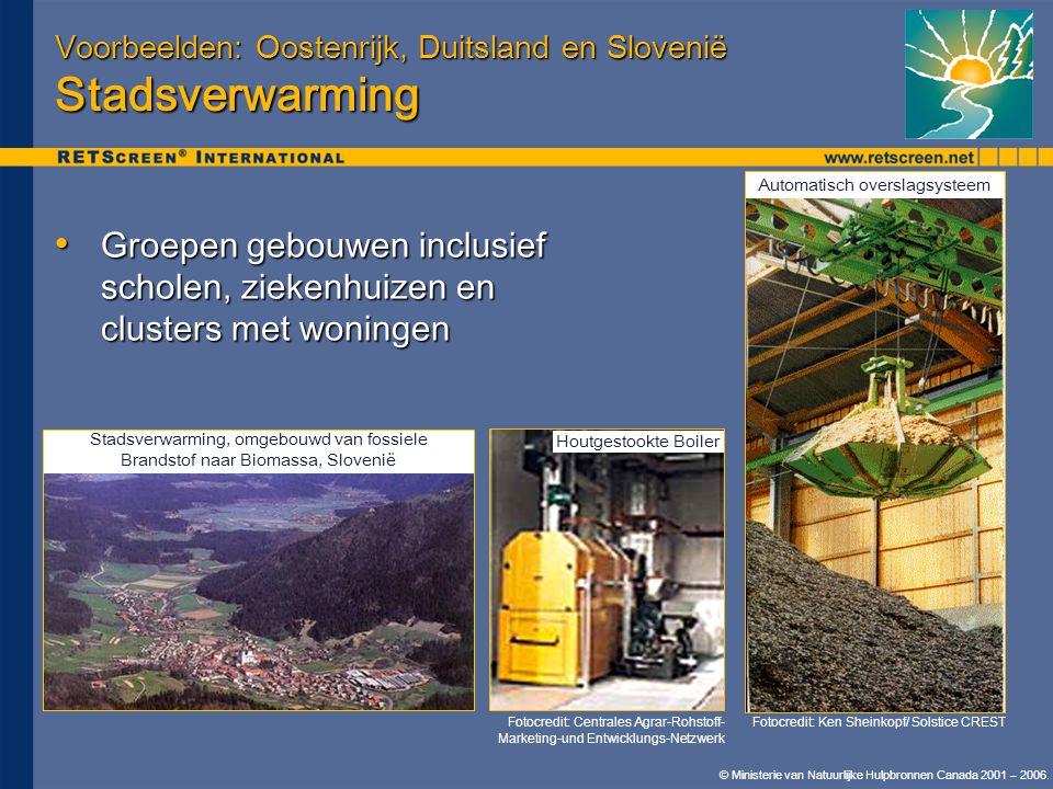 © Ministerie van Natuurlijke Hulpbronnen Canada 2001 – 2006. Voorbeelden: Oostenrijk, Duitsland en Slovenië Stadsverwarming • Groepen gebouwen inclusi