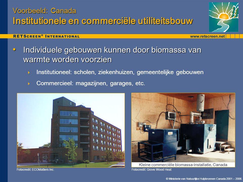 © Ministerie van Natuurlijke Hulpbronnen Canada 2001 – 2006. Voorbeeld: Canada Institutionele en commerciële utiliteitsbouw • Individuele gebouwen kun