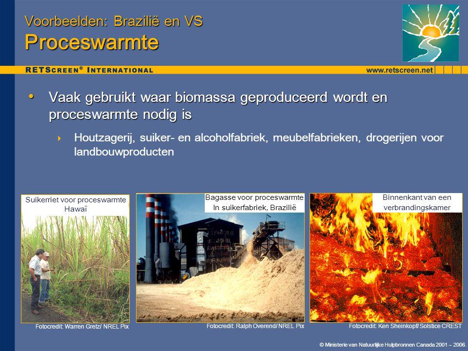 © Ministerie van Natuurlijke Hulpbronnen Canada 2001 – 2006. Voorbeelden: Brazilië en VS Proceswarmte • Vaak gebruikt waar biomassa geproduceerd wordt