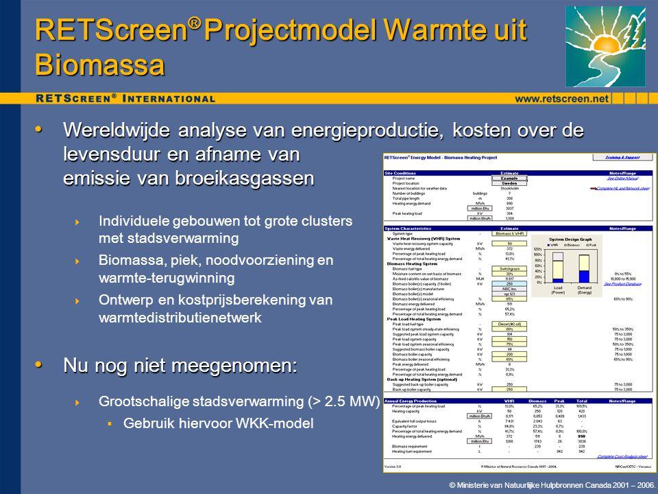 © Ministerie van Natuurlijke Hulpbronnen Canada 2001 – 2006. RETScreen ® Projectmodel Warmte uit Biomassa • Wereldwijde analyse van energieproductie,