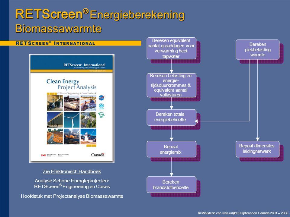 © Ministerie van Natuurlijke Hulpbronnen Canada 2001 – 2006. RETScreen ® Energieberekening Biomassawarmte Bereken equivalent aantal graaddagen voor ve