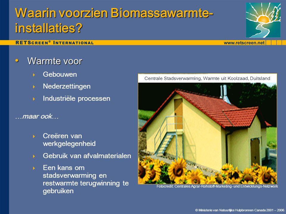 © Ministerie van Natuurlijke Hulpbronnen Canada 2001 – 2006. • Warmte voor  Gebouwen  Nederzettingen  Industriële processen …maar ook…  Creëren va