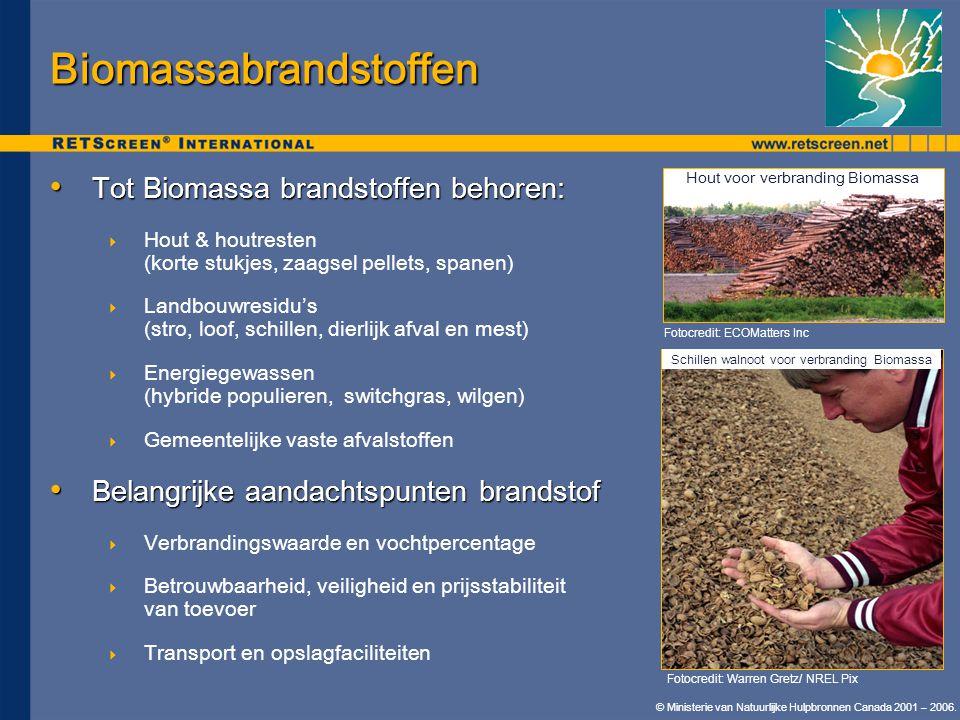 © Ministerie van Natuurlijke Hulpbronnen Canada 2001 – 2006. • Tot Biomassa brandstoffen behoren:  Hout & houtresten (korte stukjes, zaagsel pellets,