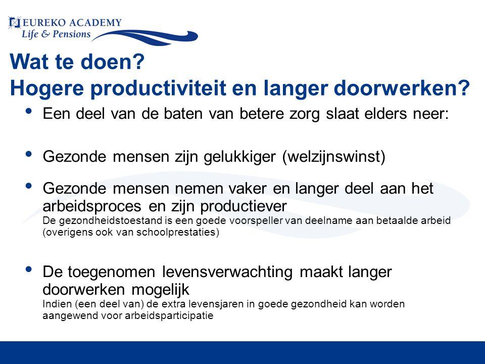 Wat te doen? Hogere productiviteit en langer doorwerken? • Een deel van de baten van betere zorg slaat elders neer: • Gezonde mensen zijn gelukkiger (