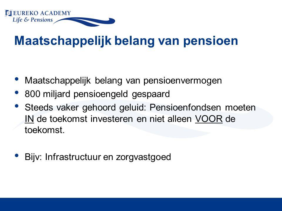 Maatschappelijk belang van pensioen • Maatschappelijk belang van pensioenvermogen • 800 miljard pensioengeld gespaard • Steeds vaker gehoord geluid: Pensioenfondsen moeten IN de toekomst investeren en niet alleen VOOR de toekomst.
