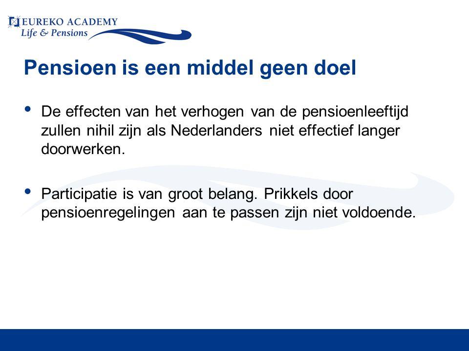 Pensioen is een middel geen doel • De effecten van het verhogen van de pensioenleeftijd zullen nihil zijn als Nederlanders niet effectief langer doorw