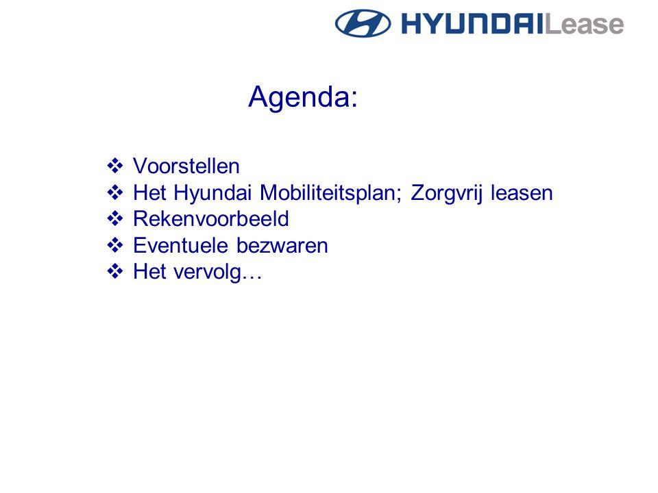 Agenda:  Voorstellen  Het Hyundai Mobiliteitsplan; Zorgvrij leasen  Rekenvoorbeeld  Eventuele bezwaren  Het vervolg…