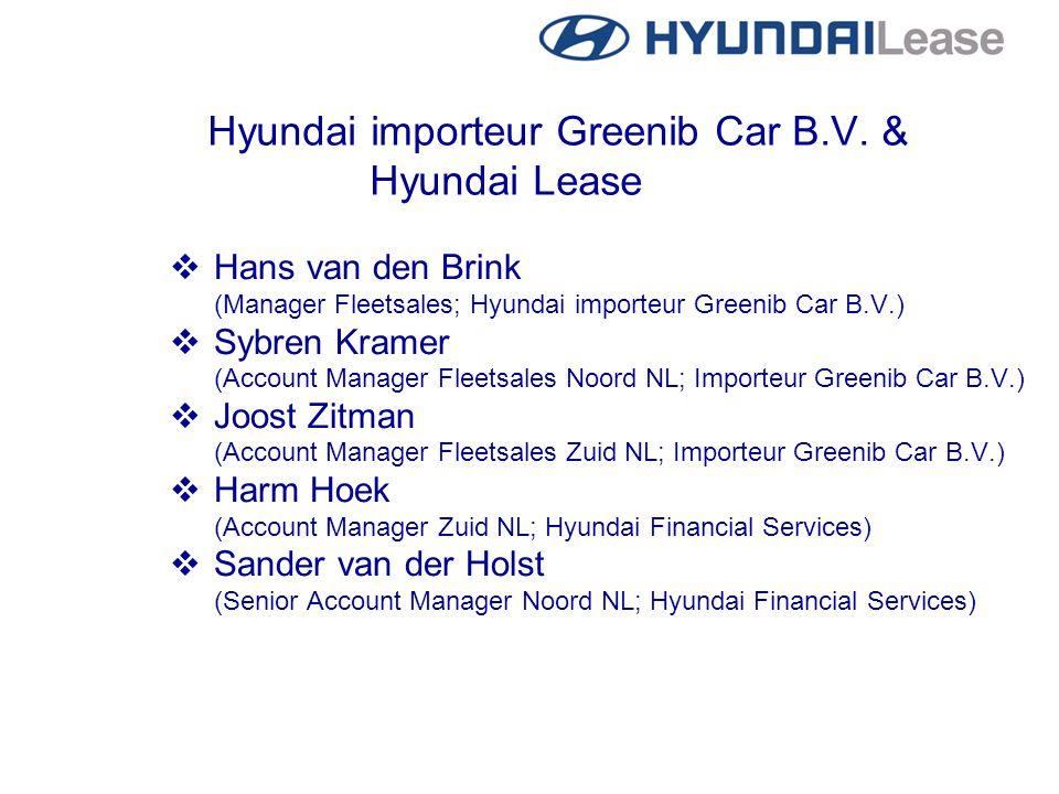 Hyundai importeur Greenib Car B.V. & Hyundai Lease  Hans van den Brink (Manager Fleetsales; Hyundai importeur Greenib Car B.V.)  Sybren Kramer (Acco