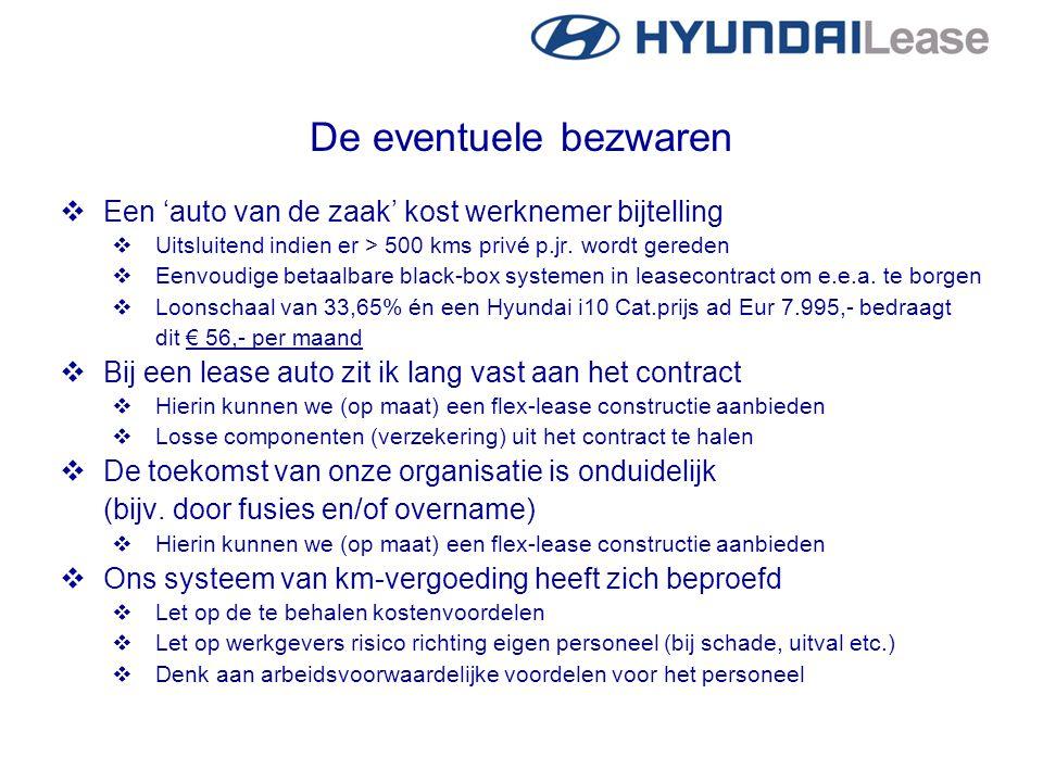 De eventuele bezwaren  Een 'auto van de zaak' kost werknemer bijtelling  Uitsluitend indien er > 500 kms privé p.jr. wordt gereden  Eenvoudige beta
