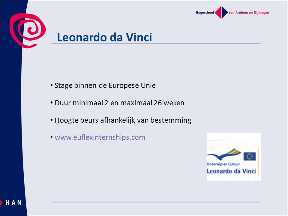 Leonardo da Vinci • Stage binnen de Europese Unie • Duur minimaal 2 en maximaal 26 weken • Hoogte beurs afhankelijk van bestemming • www.euflexinternships.comwww.euflexinternships.com