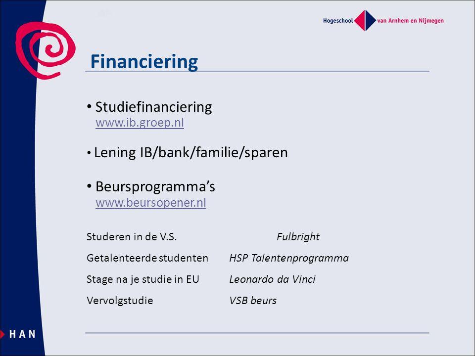 Financiering • Studiefinanciering www.ib.groep.nlwww.ib.groep.nl • Lening IB/bank/familie/sparen • Beursprogramma's www.beursopener.nl Studeren in de V.S.