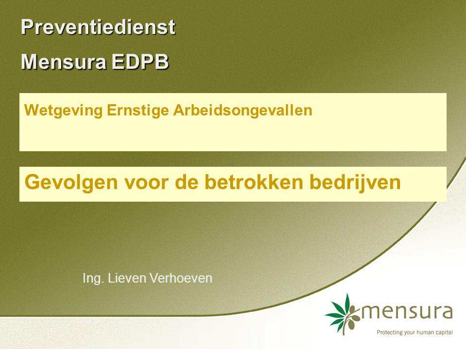 Preventiedienst Mensura EDPB Wetgeving Ernstige Arbeidsongevallen Gevolgen voor de betrokken bedrijven Ing.