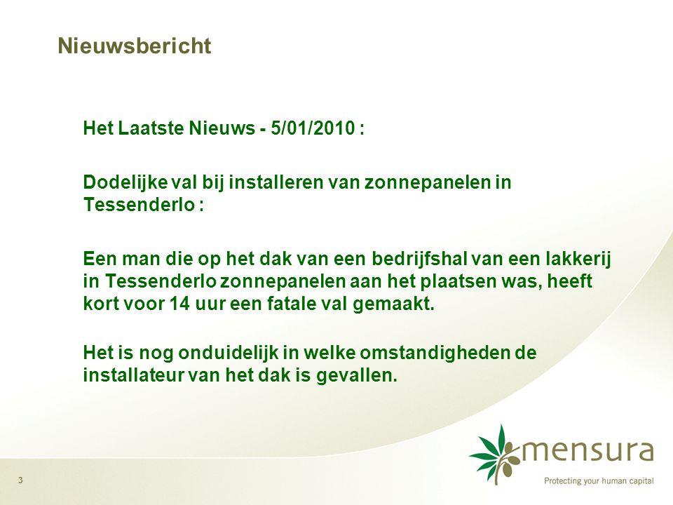 3 Nieuwsbericht Het Laatste Nieuws - 5/01/2010 : Dodelijke val bij installeren van zonnepanelen in Tessenderlo : Een man die op het dak van een bedrijfshal van een lakkerij in Tessenderlo zonnepanelen aan het plaatsen was, heeft kort voor 14 uur een fatale val gemaakt.