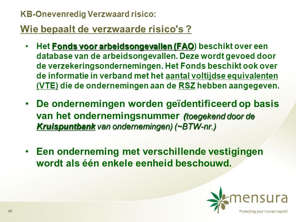 40 Fonds voor arbeidsongevallen (FAO •Het Fonds voor arbeidsongevallen (FAO) beschikt over een database van de arbeidsongevallen.