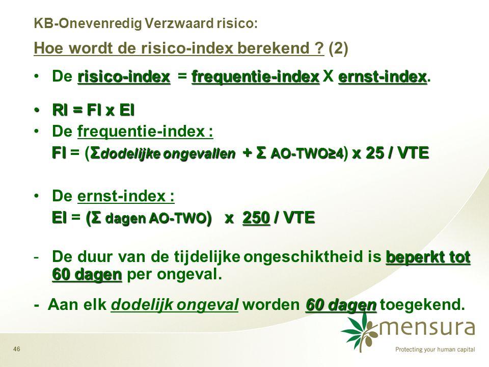 46 risico-indexfrequentie-indexernst-index •De risico-index = frequentie-index X ernst-index.