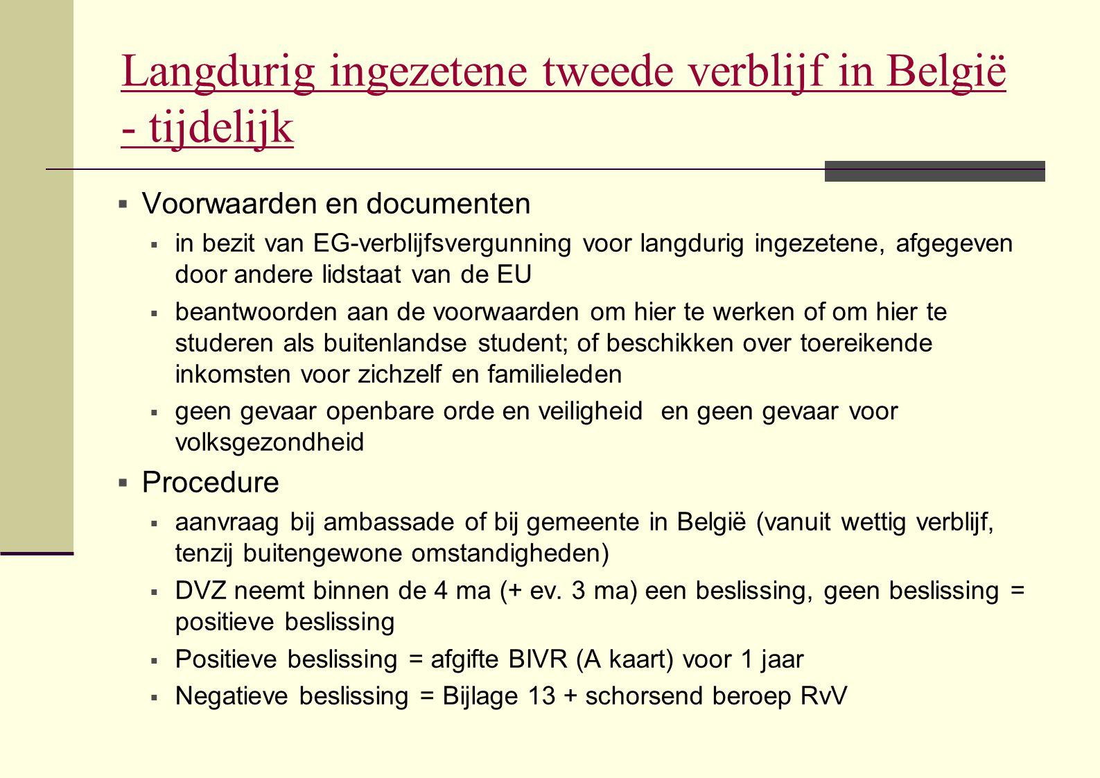 Langdurig ingezetene tweede verblijf in België - tijdelijk  Voorwaarden en documenten  in bezit van EG-verblijfsvergunning voor langdurig ingezetene