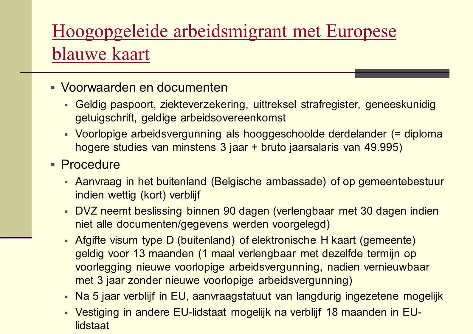 Hoogopgeleide arbeidsmigrant met Europese blauwe kaart  Voorwaarden en documenten  Geldig paspoort, ziekteverzekering, uittreksel strafregister, gen