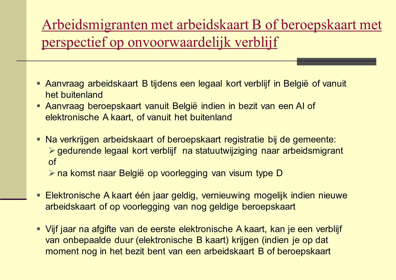 Arbeidsmigranten met arbeidskaart B of beroepskaart met perspectief op onvoorwaardelijk verblijf  Aanvraag arbeidskaart B tijdens een legaal kort ver