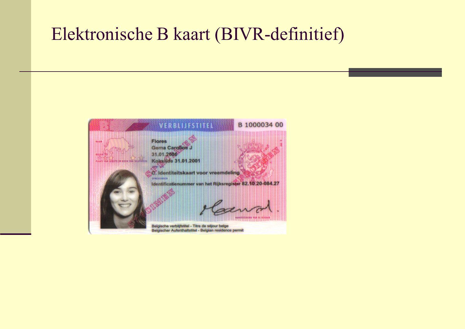 Elektronische B kaart (BIVR-definitief)