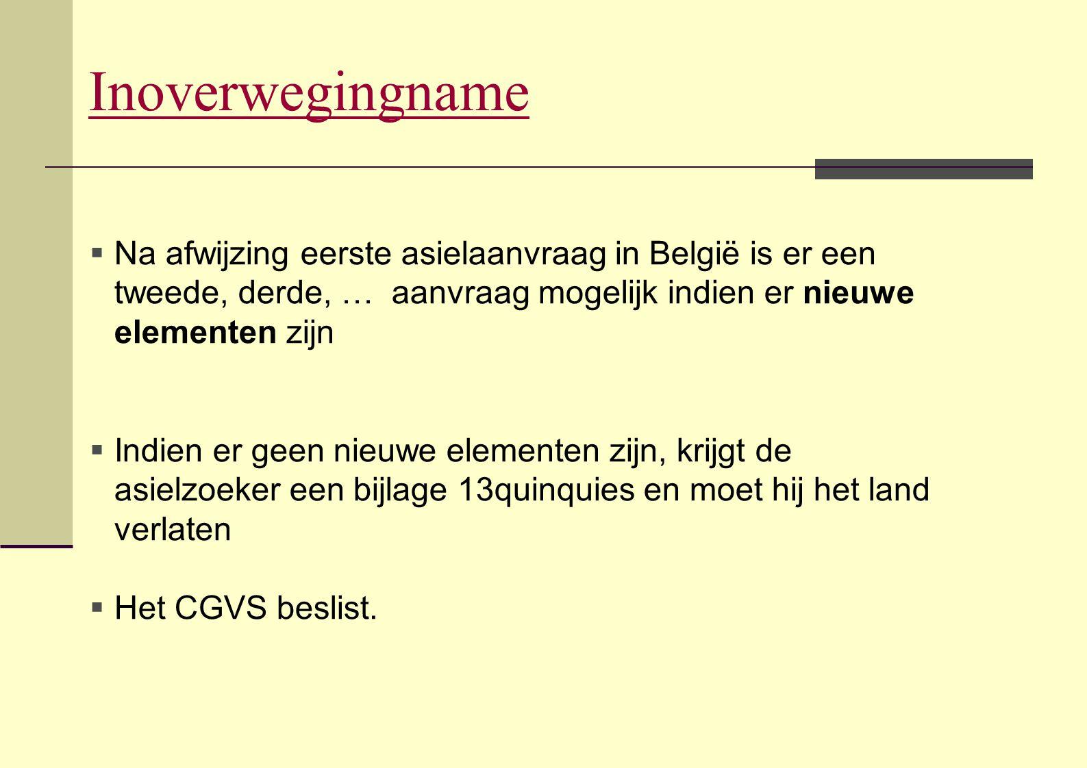 Inoverwegingname  Na afwijzing eerste asielaanvraag in België is er een tweede, derde, … aanvraag mogelijk indien er nieuwe elementen zijn  Indien e