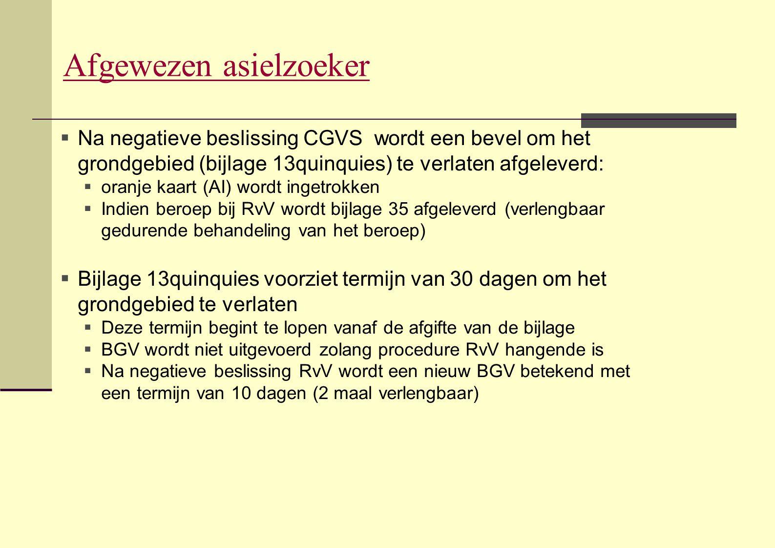 Afgewezen asielzoeker  Na negatieve beslissing CGVS wordt een bevel om het grondgebied (bijlage 13quinquies) te verlaten afgeleverd:  oranje kaart (