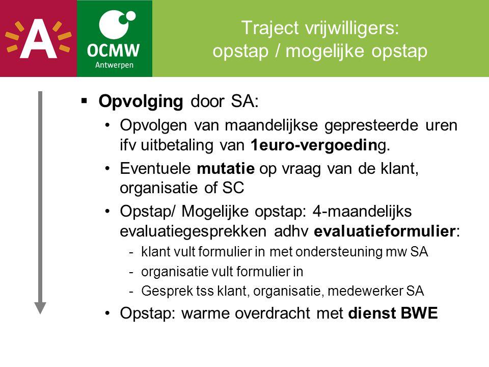 Traject vrijwilligers: opstap / mogelijke opstap  Opvolging door SA: •Opvolgen van maandelijkse gepresteerde uren ifv uitbetaling van 1euro-vergoedin