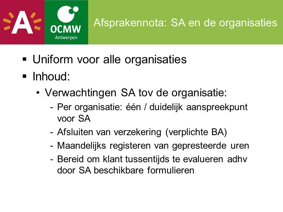 Afsprakennota: SA en de organisaties  Uniform voor alle organisaties  Inhoud: •Verwachtingen SA tov de organisatie: -Per organisatie: één / duidelij