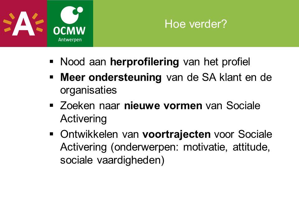 Hoe verder?  Nood aan herprofilering van het profiel  Meer ondersteuning van de SA klant en de organisaties  Zoeken naar nieuwe vormen van Sociale