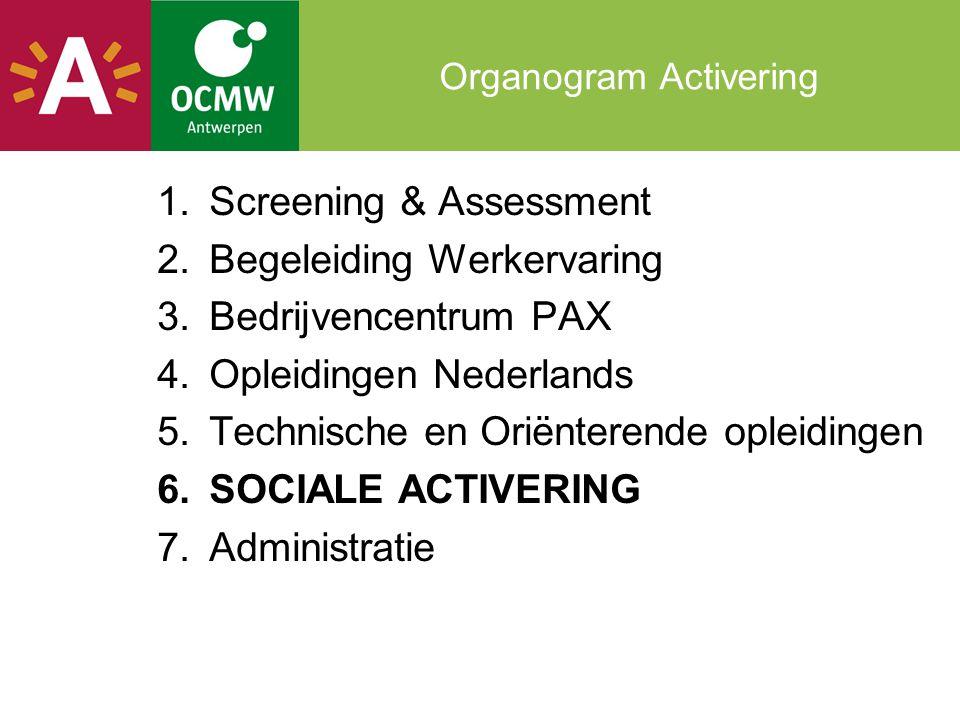 Organogram Activering 1.Screening & Assessment 2.Begeleiding Werkervaring 3.Bedrijvencentrum PAX 4.Opleidingen Nederlands 5.Technische en Oriënterende