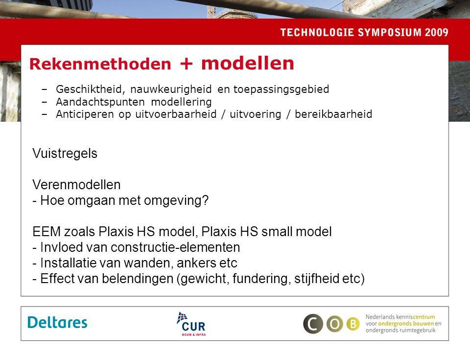 Rekenmethoden + modellen –Geschiktheid, nauwkeurigheid en toepassingsgebied –Aandachtspunten modellering –Anticiperen op uitvoerbaarheid / uitvoering / bereikbaarheid Vuistregels Verenmodellen - Hoe omgaan met omgeving.