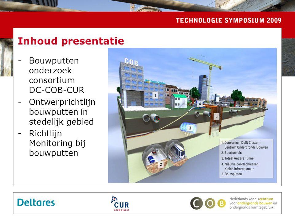 -Bouwputten onderzoek consortium DC-COB-CUR -Ontwerprichtlijn bouwputten in stedelijk gebied -Richtlijn Monitoring bij bouwputten Inhoud presentatie