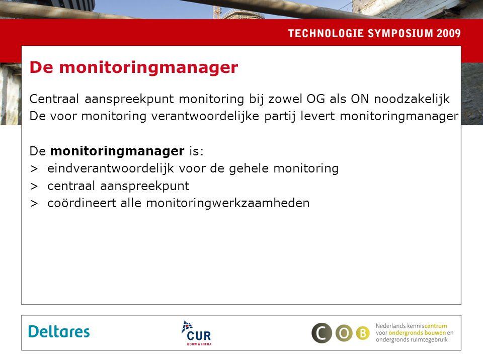 De monitoringmanager Centraal aanspreekpunt monitoring bij zowel OG als ON noodzakelijk De voor monitoring verantwoordelijke partij levert monitoringmanager De monitoringmanager is: >eindverantwoordelijk voor de gehele monitoring >centraal aanspreekpunt >coördineert alle monitoringwerkzaamheden