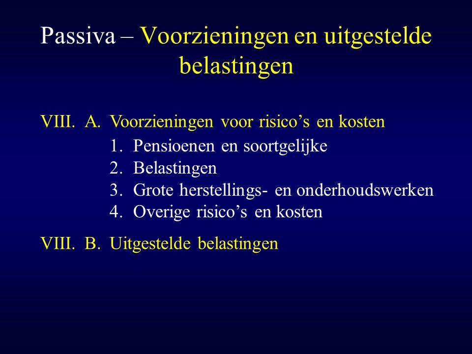 Passiva – Voorzieningen en uitgestelde belastingen VIII.A.Voorzieningen voor risico's en kosten 1.Pensioenen en soortgelijke 2.Belastingen 3.Grote her