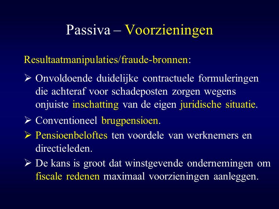 Passiva – Voorzieningen  Onvoldoende duidelijke contractuele formuleringen die achteraf voor schadeposten zorgen wegens onjuiste inschatting van de e