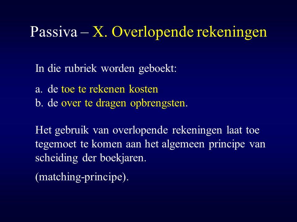 Passiva – X. Overlopende rekeningen In die rubriek worden geboekt: a.de toe te rekenen kosten b.de over te dragen opbrengsten. Het gebruik van overlop