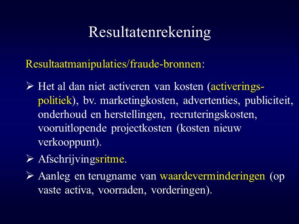 Resultatenrekening  Afschrijvingsritme. Resultaatmanipulaties/fraude-bronnen:  Het al dan niet activeren van kosten (activerings- politiek), bv. mar