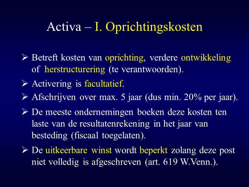 Activa – I. Oprichtingskosten  Betreft kosten van oprichting, verdere ontwikkeling of herstructurering (te verantwoorden).  Activering is facultatie