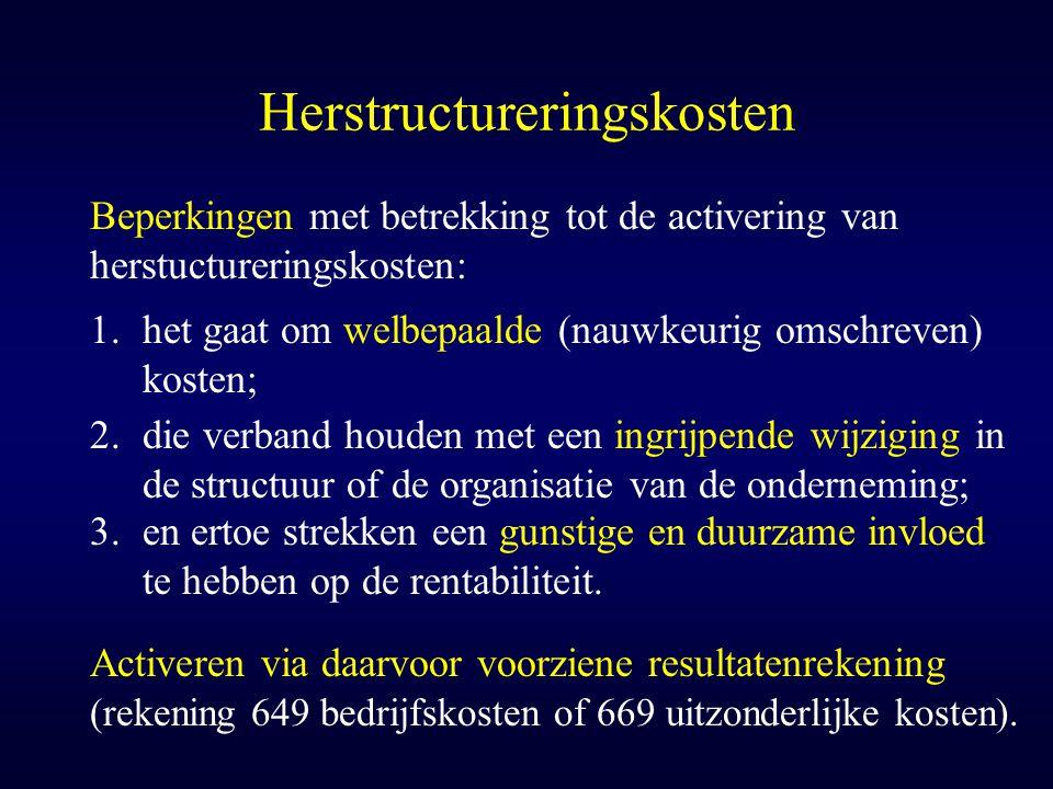 Herstructureringskosten 1.het gaat om welbepaalde (nauwkeurig omschreven) kosten; Beperkingen met betrekking tot de activering van herstuctureringskos
