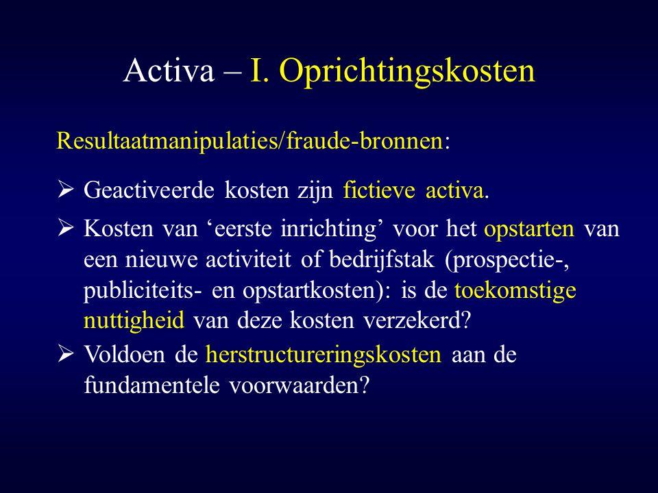 Activa – I. Oprichtingskosten  Kosten van 'eerste inrichting' voor het opstarten van een nieuwe activiteit of bedrijfstak (prospectie-, publiciteits-