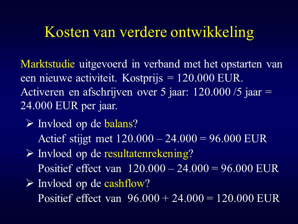 Kosten van verdere ontwikkeling Marktstudie uitgevoerd in verband met het opstarten van een nieuwe activiteit. Kostprijs = 120.000 EUR. Activeren en a