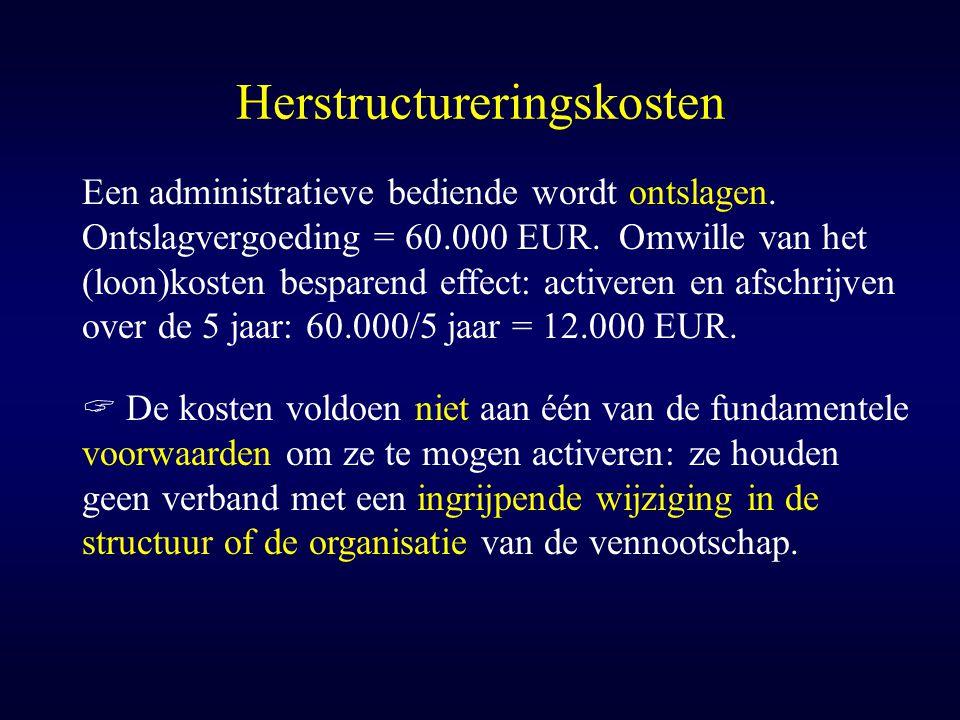 Herstructureringskosten Een administratieve bediende wordt ontslagen. Ontslagvergoeding = 60.000 EUR. Omwille van het (loon)kosten besparend effect: a