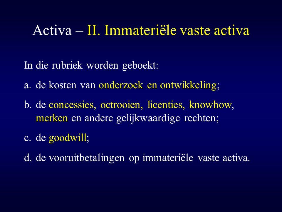 Activa – II. Immateriële vaste activa In die rubriek worden geboekt: a.de kosten van onderzoek en ontwikkeling; b.de concessies, octrooien, licenties,